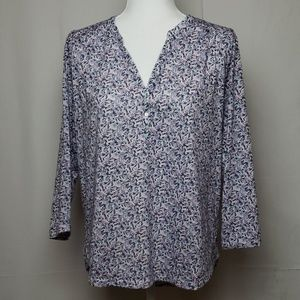 H&M Blue and Pink Floral Blouse